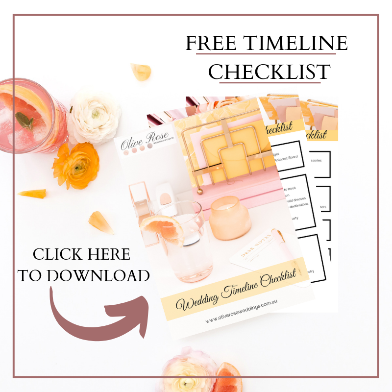 Wedding Timeline Checklist.Free Wedding Timeline Checklist I Olive Rose Weddings Events
