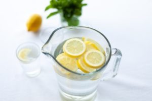 lemon in water jug